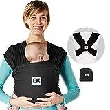Baby K 'Tan - Fular Portabebés – Modelo Breeze Transpirable 100% Algodón, talla L, Negro (Black Breeze)