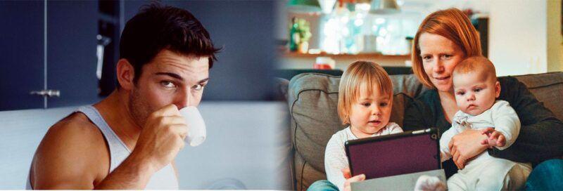Hombre bebiendo café y mujer viendo la tablet con hijos